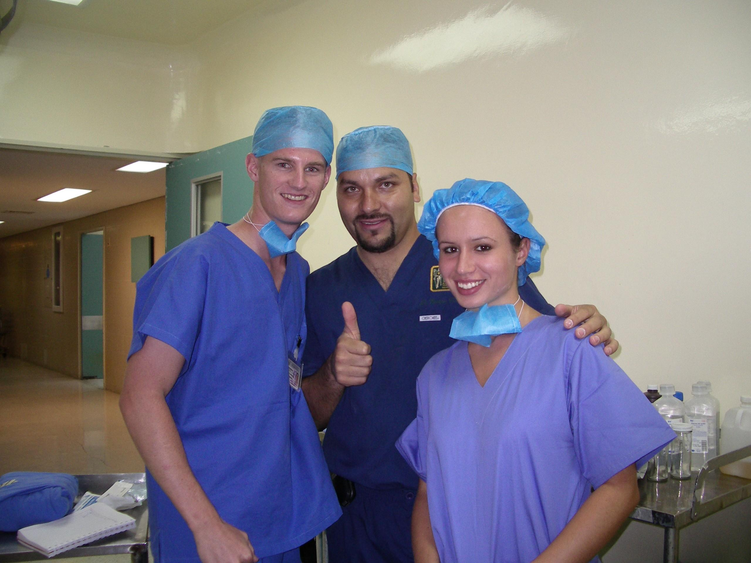 Medical Interns pose for a picture with a local doctor in a Hospital during their work placement in Mexico.